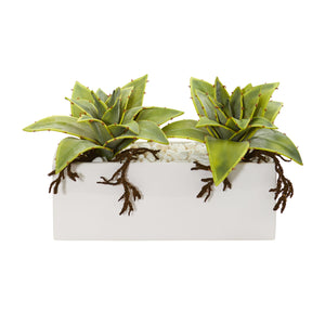 Succulent Artificial Plant In White Ceramic Vase