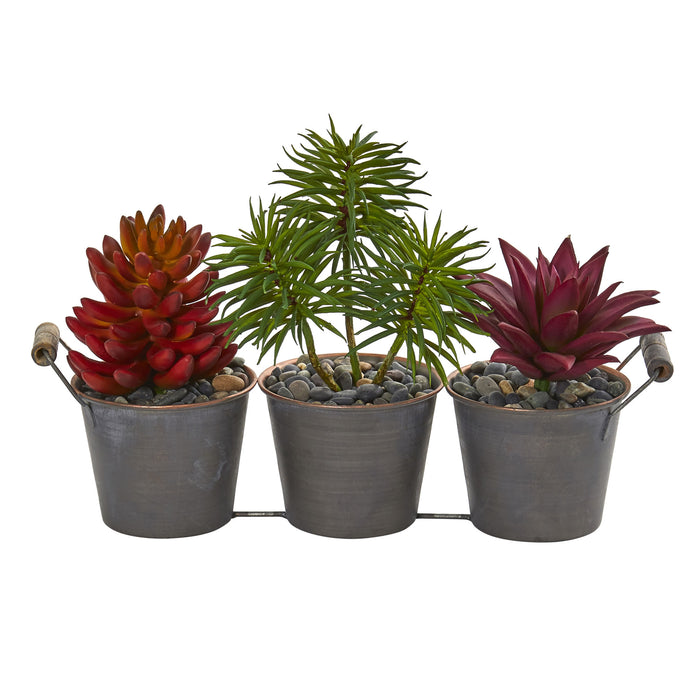 Mixed Succulent Artificial Plant In Triple Potted Planter