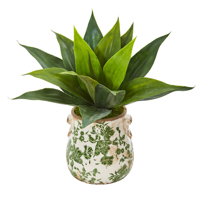 "14"" Agave Succulent Artificial Plant In Decorative Vase"