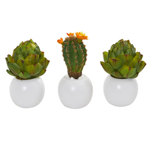 "8"" Artichoke And Cactus Artificial Plant In White Planter (Set Of 3)"