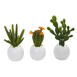 "10"" Mix Succulent Artificial Plant In White Planter (Set Of 3)"