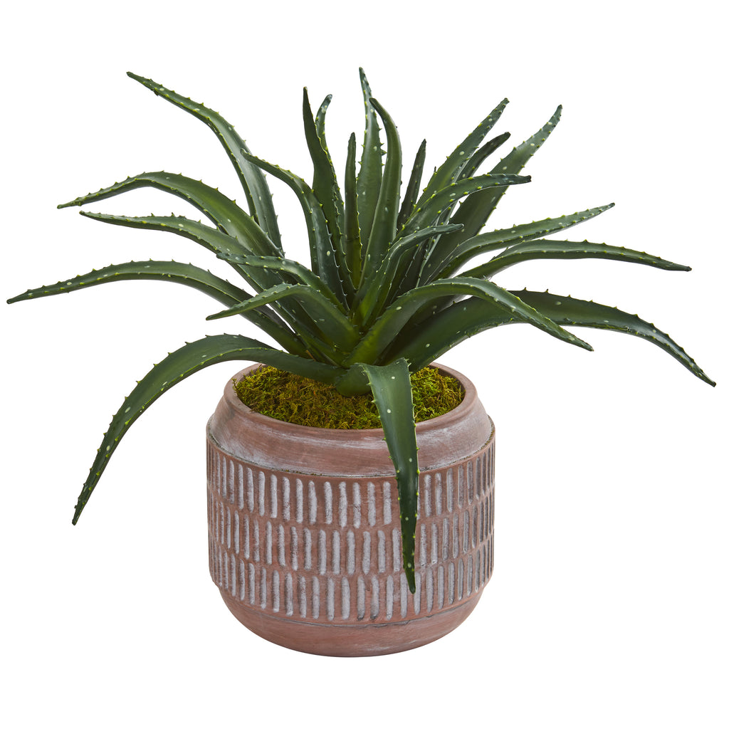 "14"" Aloe Succulent Artificial Plant In Decorative Planter"