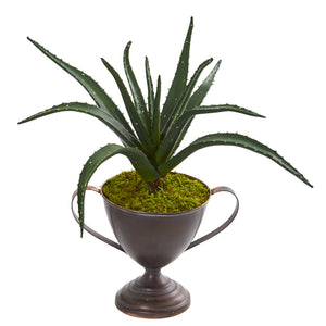 "16"" Aloe Succulent Artificial Plant In Metal Goblet"
