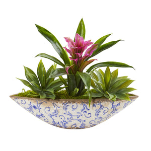 Bromeliad And Agave Artificial Plant In Floral Planter - Purple