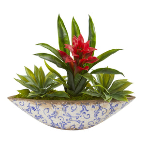 Bromeliad And Agave Artificial Plant In Floral Planter - Red
