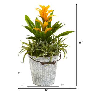 "18"" Bromeliad And Succulent Artificial Plant In Metal Bucket"