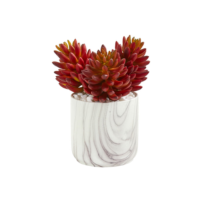"10"" Succulent Artificial Plant In Marble Finish Vase"