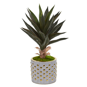 "21"" Agave Artificial Plant In Designer Planter"