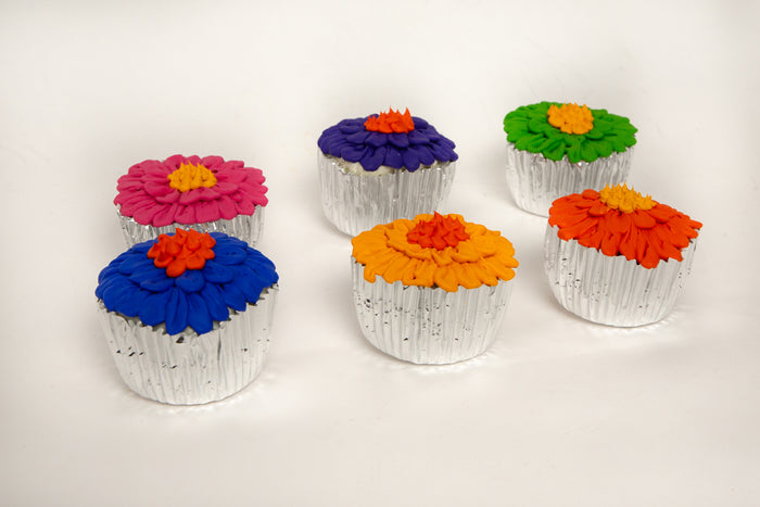 Fake Daisy Cupcakes with Assorted Colored Frosting (Set of 6)