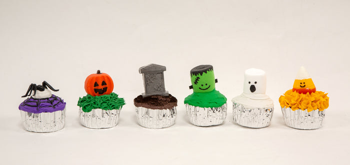 Fake Cupcakes Decorated for Halloween (Set of 6)