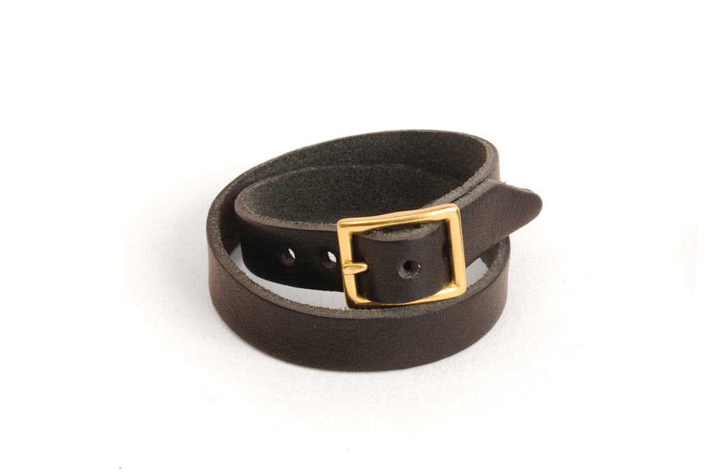Double Wrap Leather Bracelet - Black