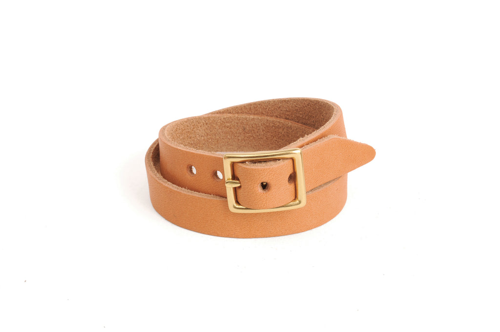Double Wrap Leather Bracelet - Tan