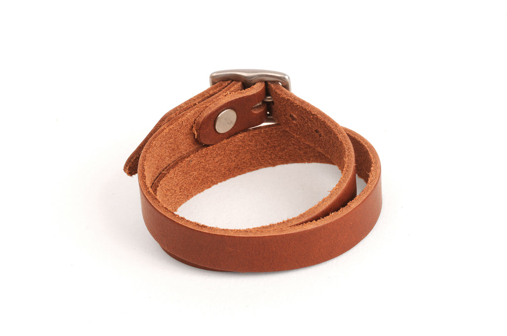 Double Wrap Leather Bracelet - Mahogany