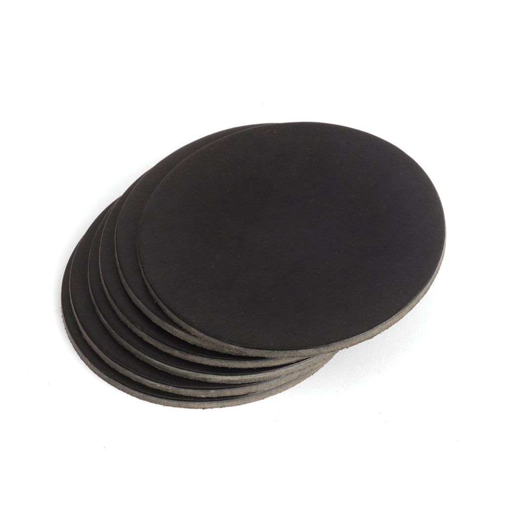Black Veg Tan Leather Coasters - Round