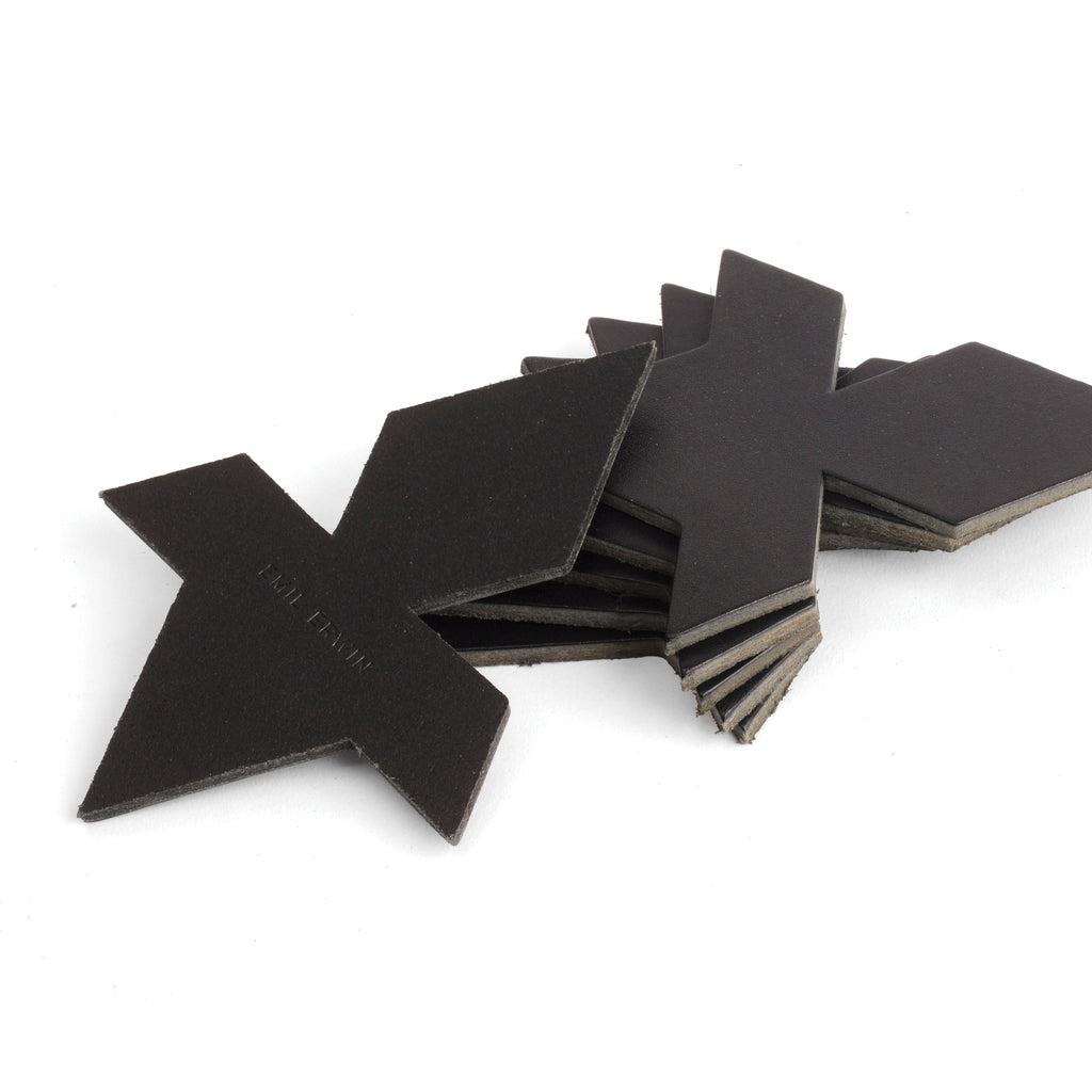 Black Veg Tan Leather Coasters - Puzzle/tesselation