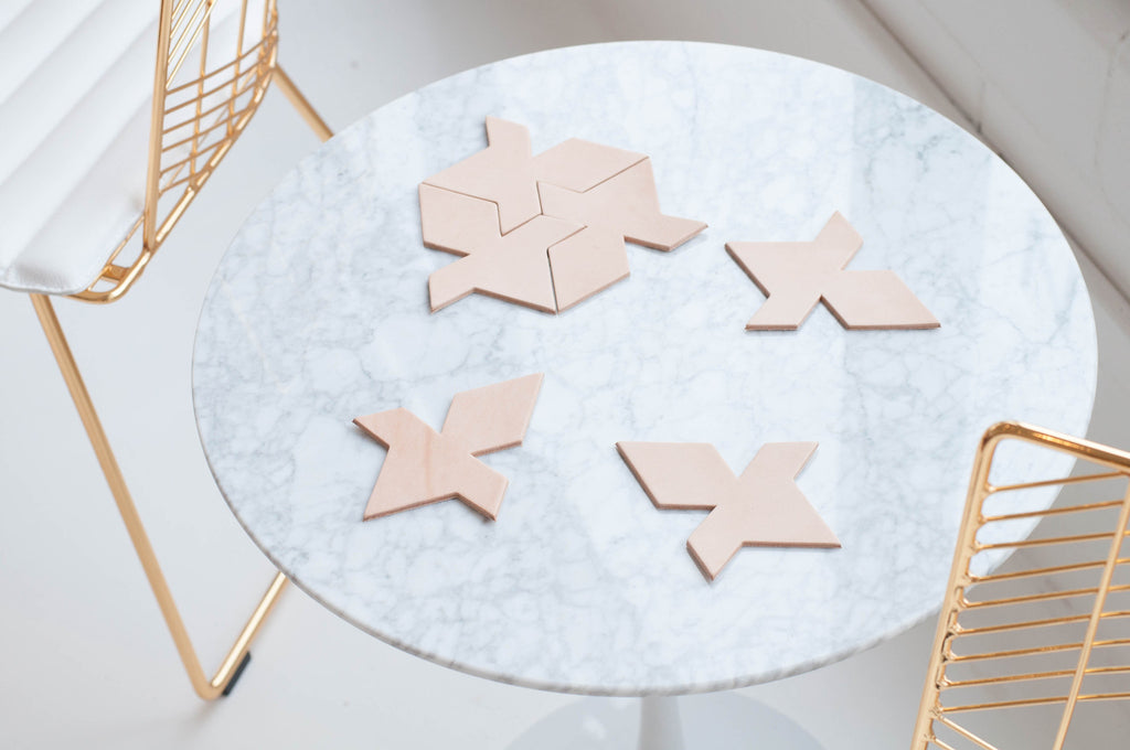 Natural Veg Tan Leather Coasters - Puzzle/tesselation