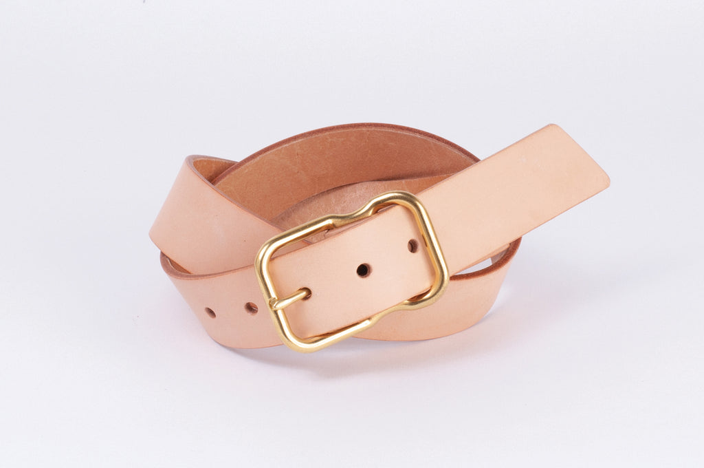 Leather Belt - Natural Veg Tan - Brass