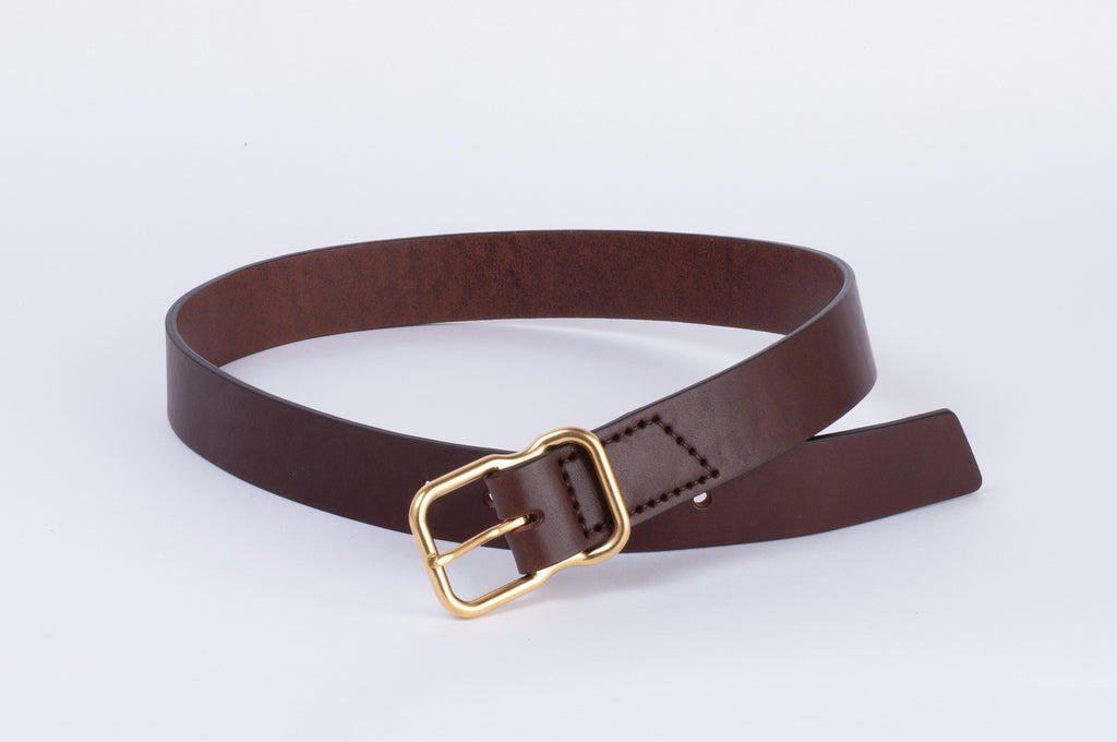 Leather Belt - Walnut - Brass