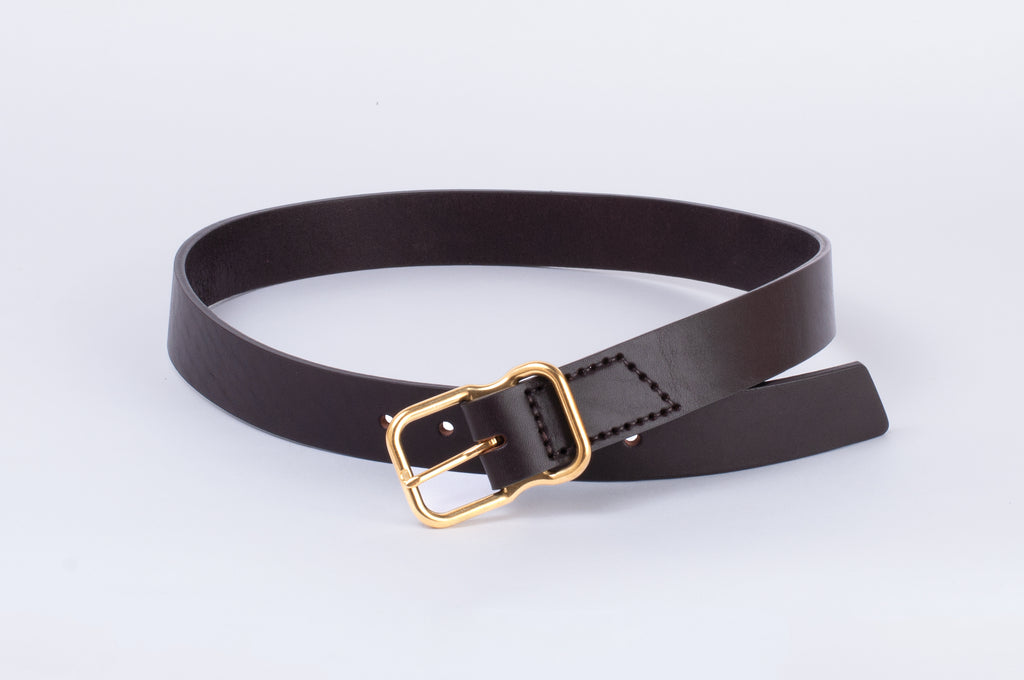 Leather Belt - Dark Brown - Brass