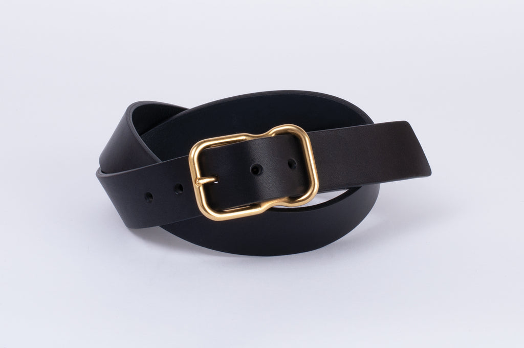 Leather Belt - Black - Brass