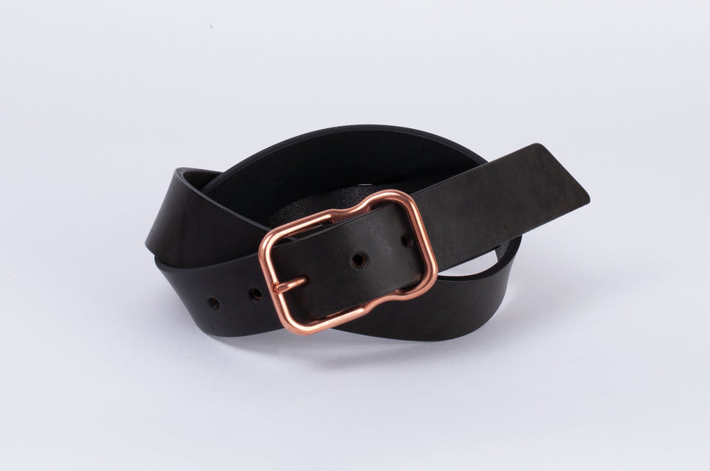 Leather Belt - Black - Copper