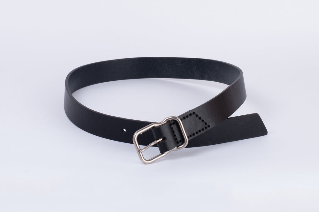 Leather Belt - Black - Nickel