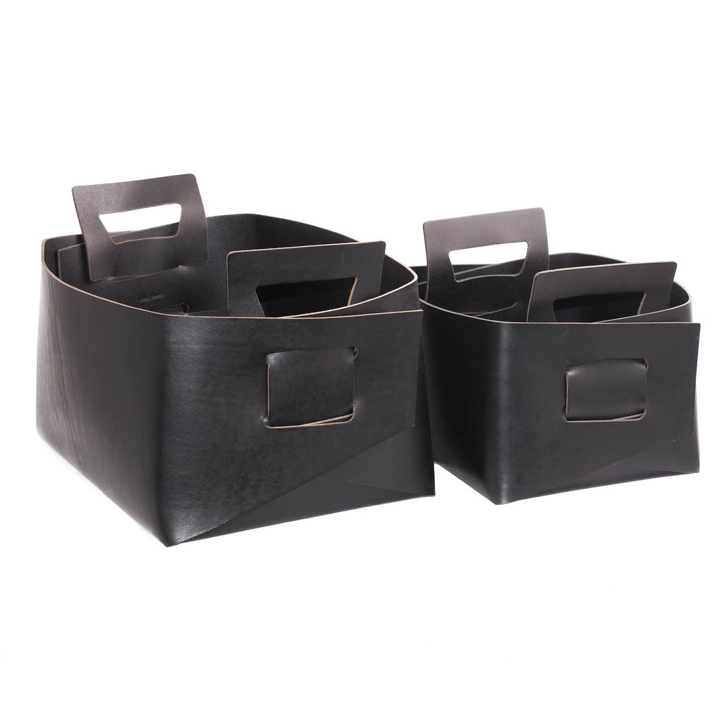 Black Leather Basket - Small