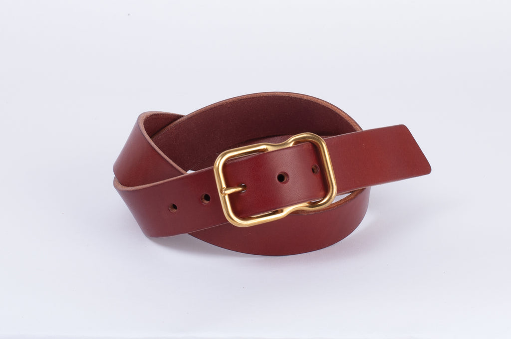 Leather Belt - Chestnut - Brass