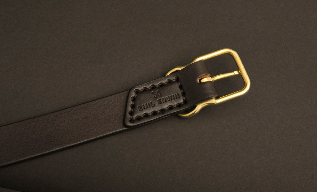 Signature Leather Belt - Narrow - Dark Brown - Brass