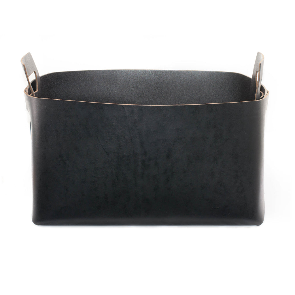 Black Leather Bin - Large