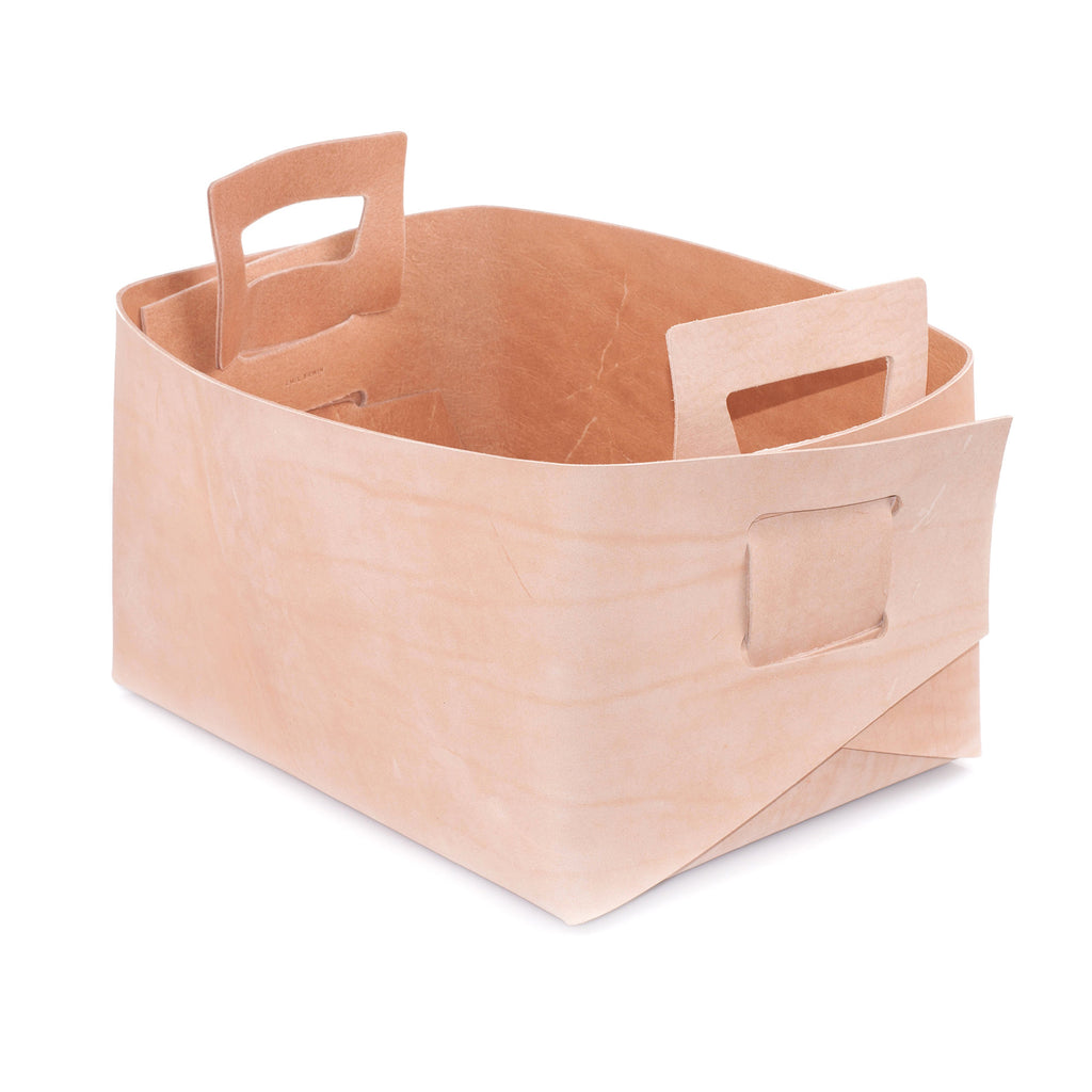 Natural Leather Basket - Large