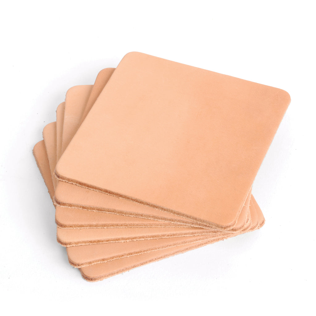 Natural Veg Tan Leather Coasters - Square