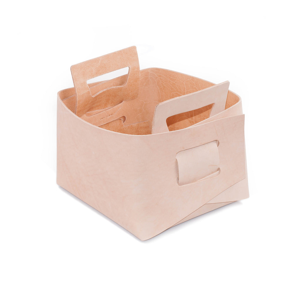 Natural Leather Basket - Small