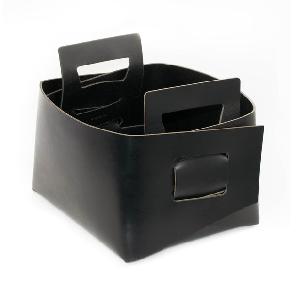 Black Leather Bin - Small
