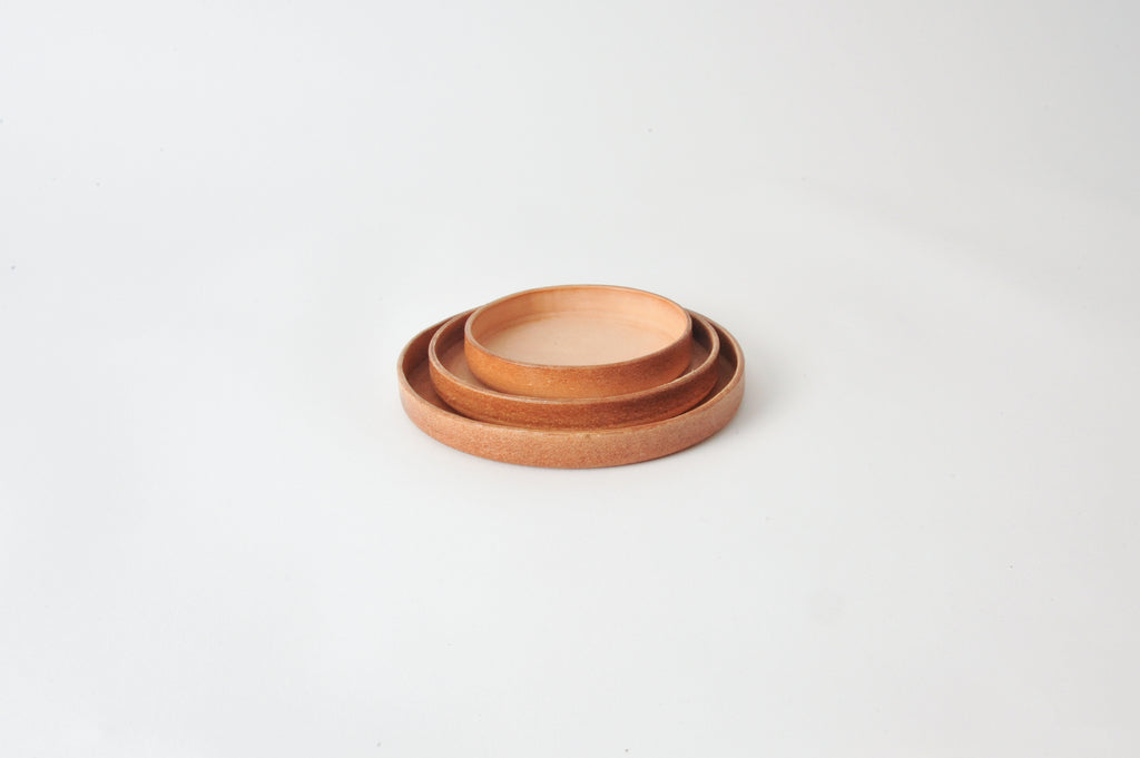 Round leather tray - Large