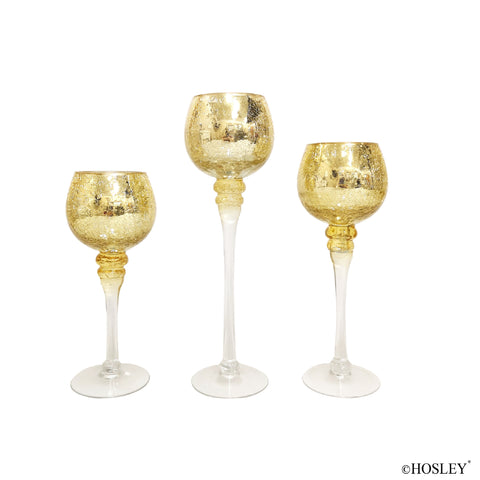 Hosley Set of 3 Crackle Gold Glass Tealight Holders 9 Inches 10 Inches and 12 Inches High