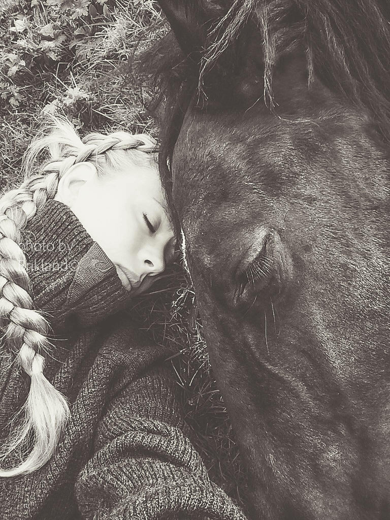 Girl laying next to horse | Quiet Time Photo Challenge