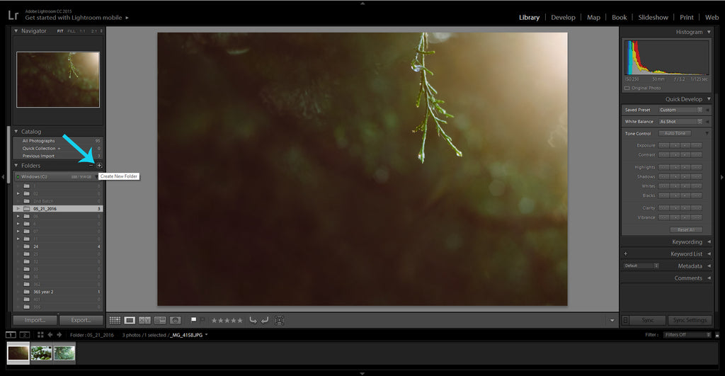 Creating new folders in the Lightroom Library module
