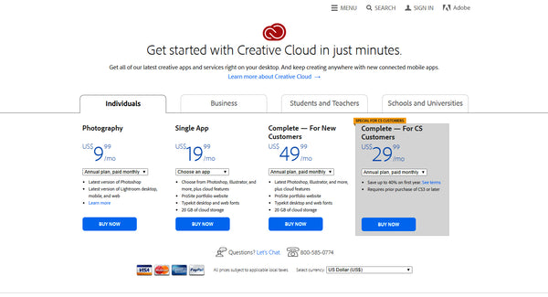 Creative Cloud Pricing Structure