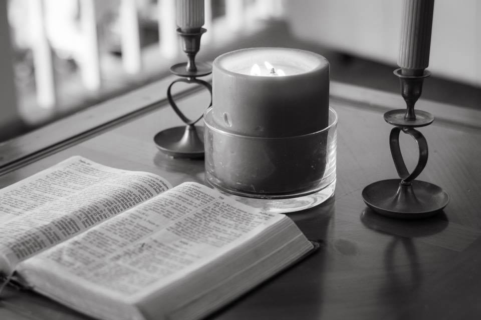 Candle and Bible on a table | Quiet Time Photo Challenge