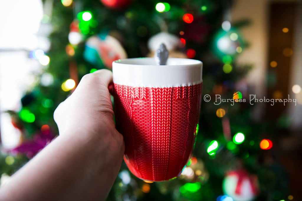 Picture of Holiday Mug in front of Christmas Tree
