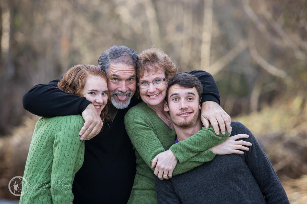 Family hugging for family picture