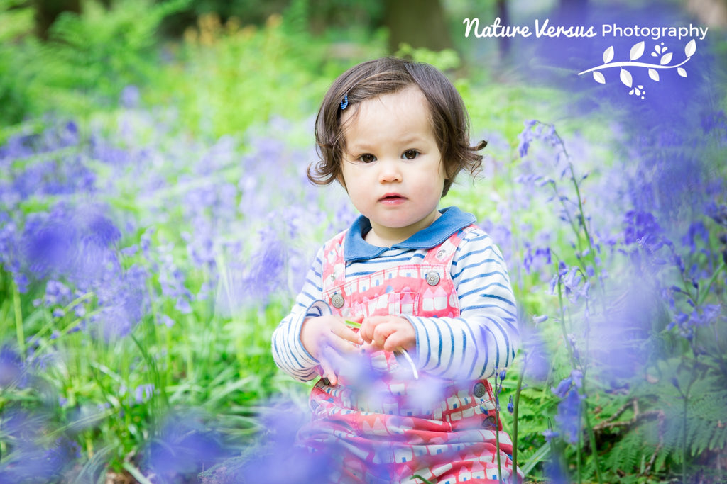 Toddler posing in purple Spring flowers
