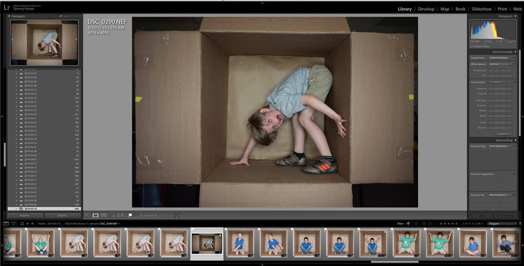 In the box photography templates