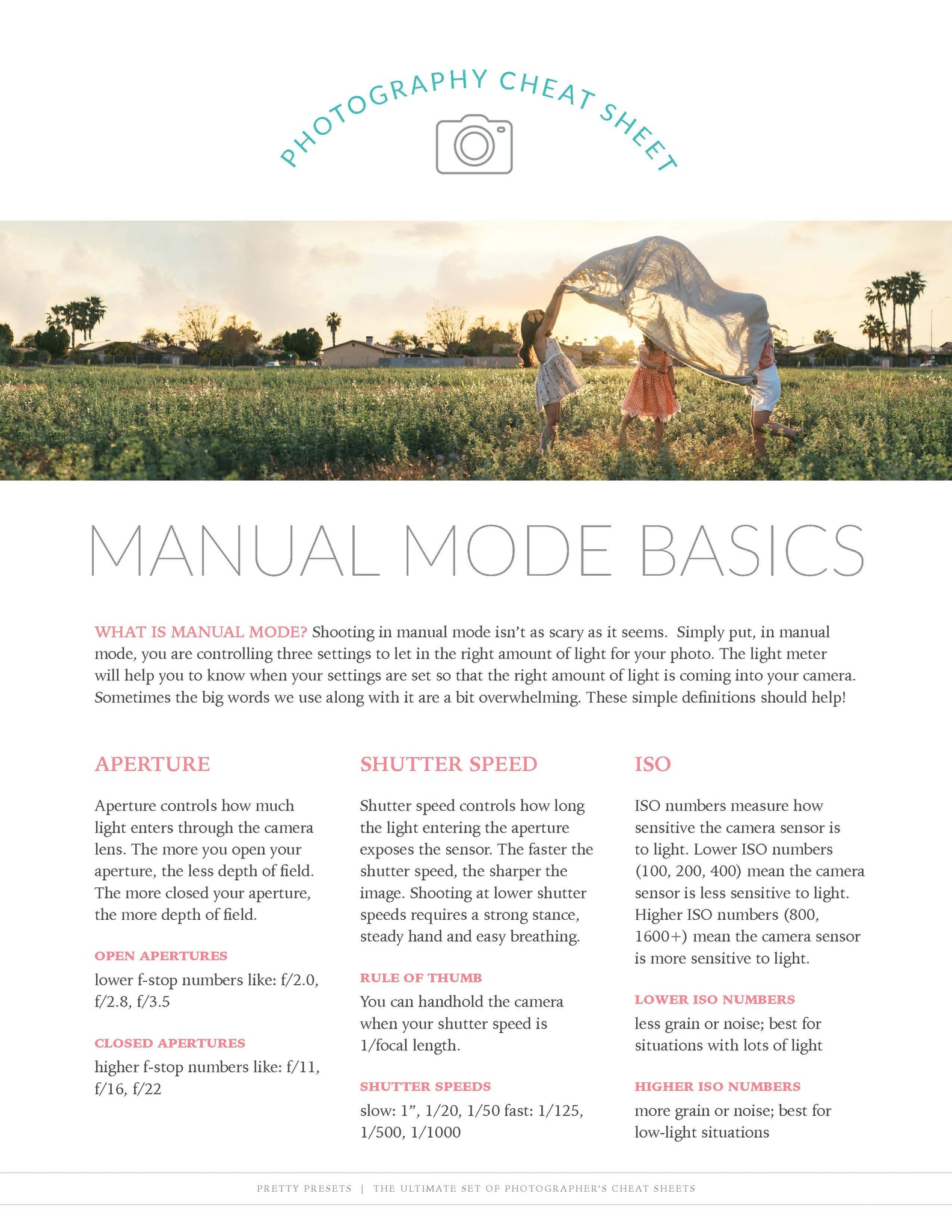 Manual Mode Cheat Sheet: Free Download – Pretty Presets for Lightroom