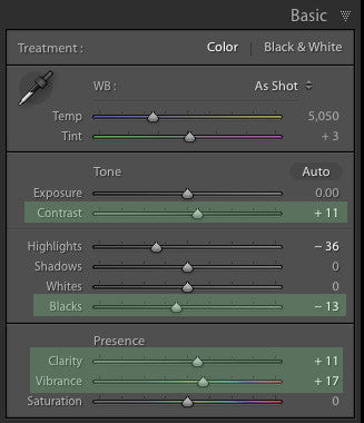 Basic panel changes to create a color pop in Lightroom