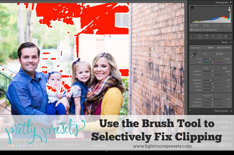 Use brushes to fix clipping in Lightroom
