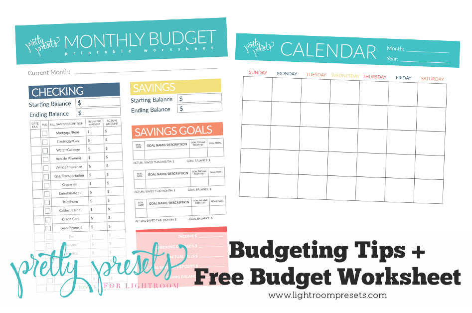 free budget worksheet budgeting tips pretty presets for lightroom