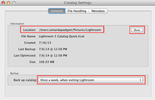Backing up the Lightroom Catalog