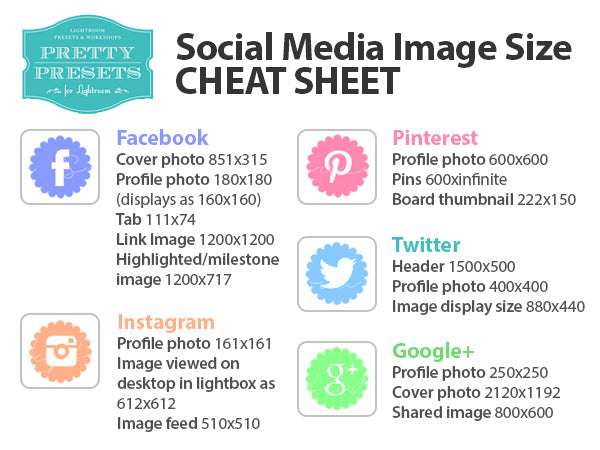 Social Media Image Size Cheat Sheets | Pretty Presets Business Tutorial